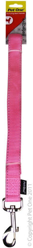 PET ONE LEASH NYLON REFLECTIVE 15MM - 150CM PINK - City Country Pets and Supplies
