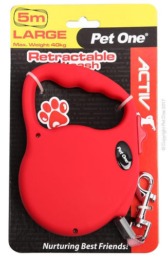 PET ONE LEASH RETRACTABLE 5M 40KG AND UNDER RED - City Country Pets and Supplies