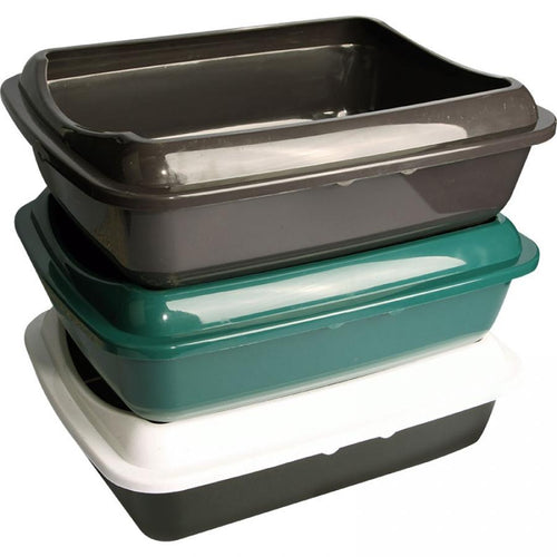 PET ONE LITTER TRAY RECTANGLE (L) W/LID 50L X 39W X 15CMH (COLOUR VARIES) - City Country Pets and Supplies