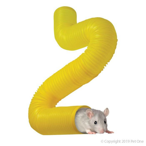 PET ONE MOUSE MAZE TUNNEL 5CM DIA X 35CM L YELLOW - City Country Pets and Supplies