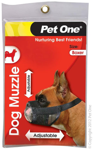 PET ONE MUZZLE NYLON ADJUSTABLE BOXER BLACK - City Country Pets and Supplies