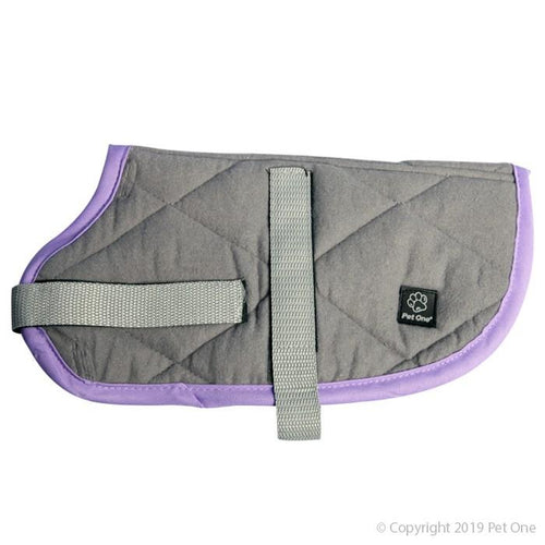PET ONE NIGHT SLEEPER DOG COAT 55CM GREY PURPLE - City Country Pets and Supplies