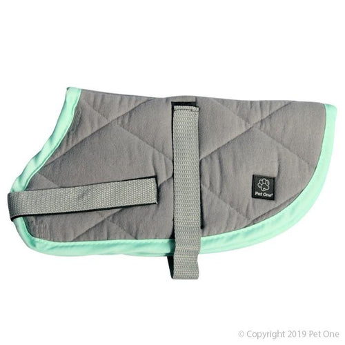 PET ONE NIGHT SLEEPER DOG COAT 55CM GREY TOURQUOISE - City Country Pets and Supplies