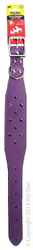 PET ONE PET ONE STUDDED LEATHER COLLAR 45CM 3 ROW PURPLE - City Country Pets and Supplies