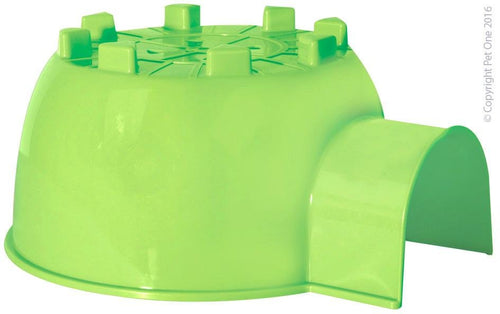 PET ONE SMALL ANIMAL HIDE PLASTIC IGLOO GREEN (L - 30X26.5X14CM) - City Country Pets and Supplies