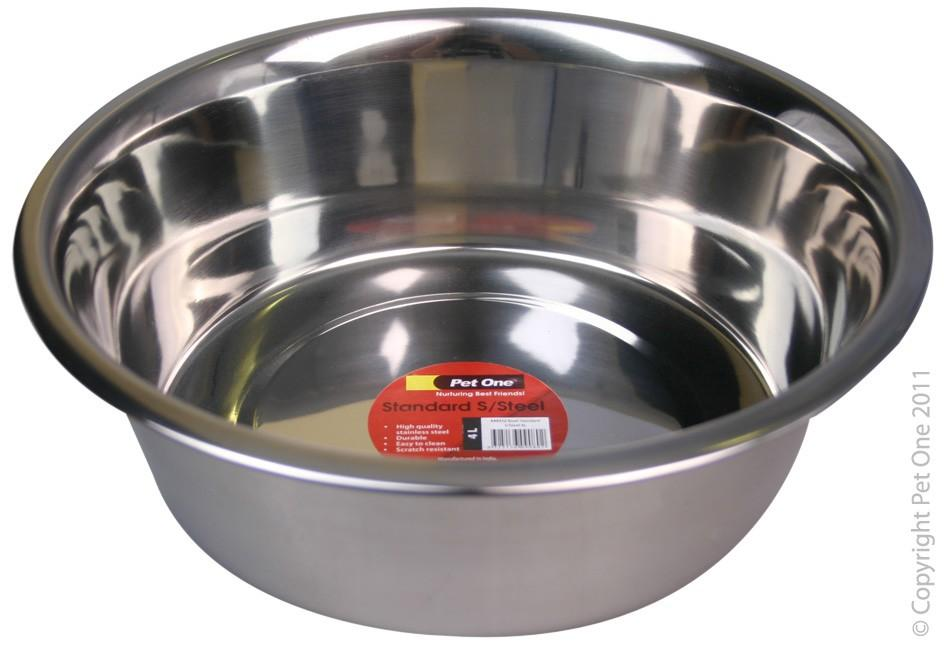 PET ONE STANDARD S/STEEL DOG BOWL 4L - City Country Pets and Supplies