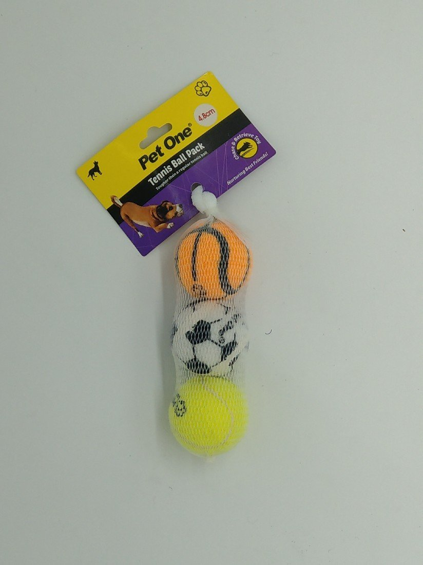 PET ONE TENNIS BALL 3 PACK (4.8CM A GRADE WITH PRINT) 48393 - City Country Pets and Supplies