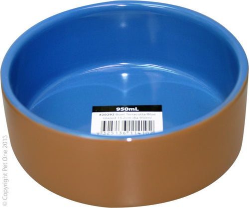 PET ONE TERRACOTTA BOWL BLUE GLAZED 15.2CM DIA 950ML - City Country Pets and Supplies