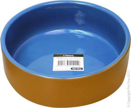 PET ONE TERRACOTTA BOWL BLUE GLAZED 19.6CM DIA 1765ML - City Country Pets and Supplies
