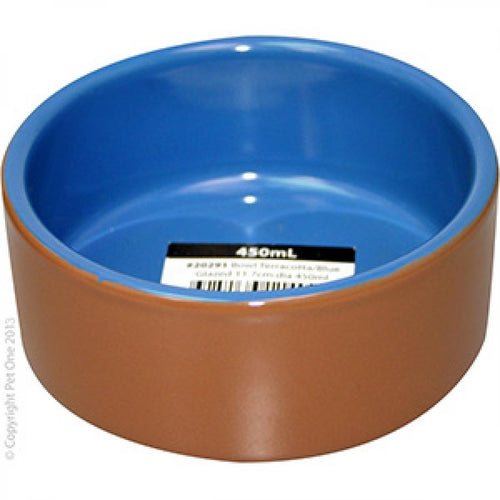 PET ONE TERRACOTTA BOWL BLUE GLAZED 450ML 11.7CM DIA - City Country Pets and Supplies