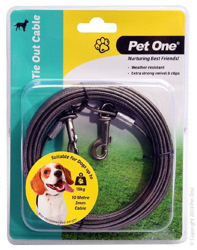 PET ONE TIE OUT CABLE 10M X 3MM SUIT DOGS UP TO 15KG BLACK - City Country Pets and Supplies