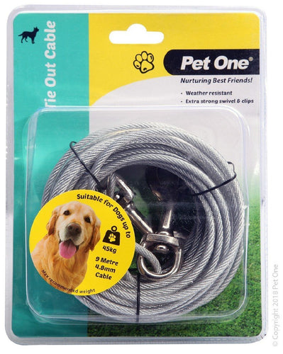 PET ONE TIE OUT CABLE 9M X 4.8MM SUIT DOGS UP TO 45KG SILVER - City Country Pets and Supplies