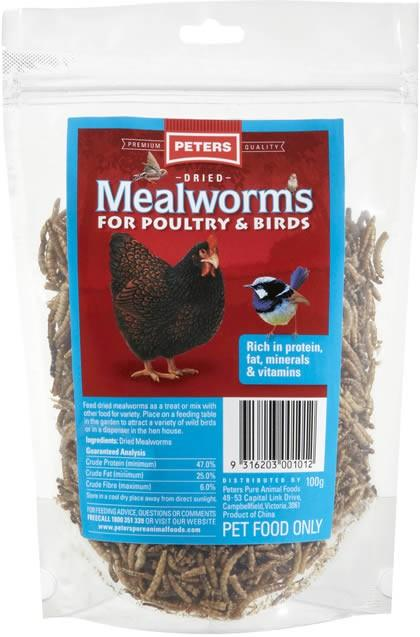 PETERS DRIED MEALWORMS 100G (FOR POULTRY AND BIRDS) - City Country Pets and Supplies