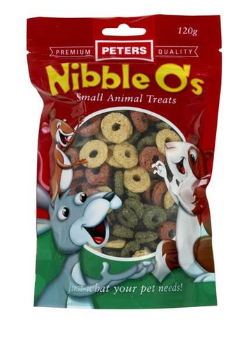 PETERS NIBBLE O'S TREATS 120G (FOR RABBITS, GUINEA PIGS, RATS, MICE) - City Country Pets and Supplies