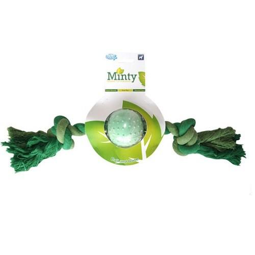 PETS BRAND MINTY RUBBER BALL AND ROPE BONE DOG TOY LARGE - City Country Pets and Supplies