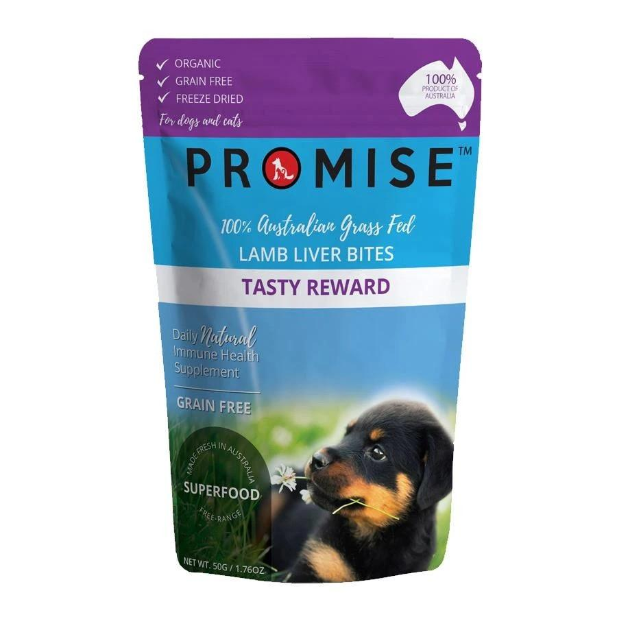 PROMISE GRAIN-FREE ORGANIC LAMB LIVER BITES TREATS TASTY REWARD 50G - City Country Pets and Supplies