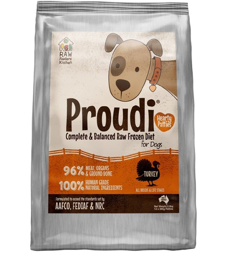 PROUDI DOG TURKEY 2.8KG (14X200G PATTIES) - City Country Pets and Supplies