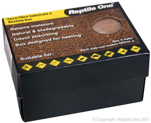 REPTILE ONE COCO FIBRE SUBSTRATE & NESTING BOX (3 SLABS - EACH MAKES 400ML) - City Country Pets and Supplies