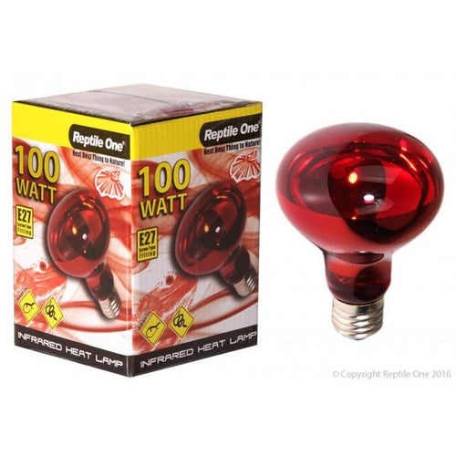 REPTILE ONE INFRARED HEAT LAMP GLOBE 100W (E27 SCREW FITTING) - City Country Pets and Supplies