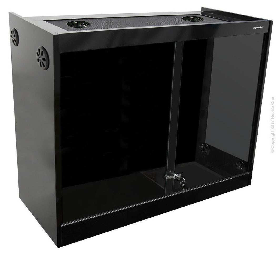 REPTILE ONE VIVARIUM S2M-12612 W/GLASS FLOOR 120LX60WX120HCM (BLACK) - City Country Pets and Supplies