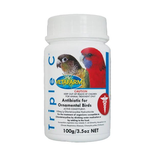 VETAFARM TRIPLE C ANTIBIOTIC FOR ORNAMENTAL BIRDS 100G - City Country Pets and Supplies