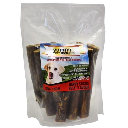 YUMMI PET HAPPY STICKS BEEF FLAVOUR 15CM / 500G - City Country Pets and Supplies