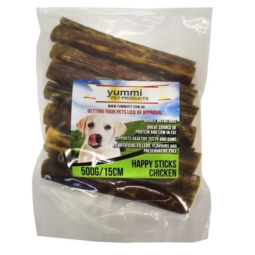 YUMMI PET HAPPY STICKS CHICKEN FLAVOUR 15CM / 500G - City Country Pets and Supplies