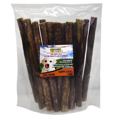 YUMMI PET HAPPY STICKS LAMB FLAVOUR 30CM / 1KG - City Country Pets and Supplies