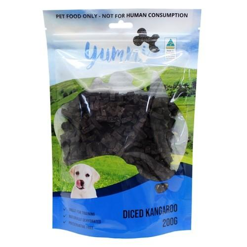 YUMMI PET ROO JERKY DICED 200G - City Country Pets and Supplies