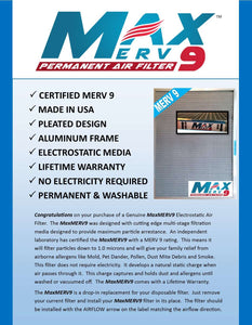 MaxMERV9 - The High Arrestance Washable, Permanent, Electrostatic A/C Furnace Filter