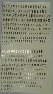 Old English Letters Medium and Small Foil Water Slide Decals