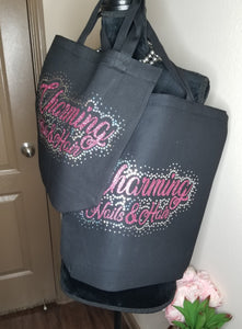Small or Large Lettered Tote Black