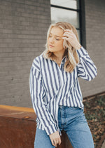 Striped Button Down - Grey Mix