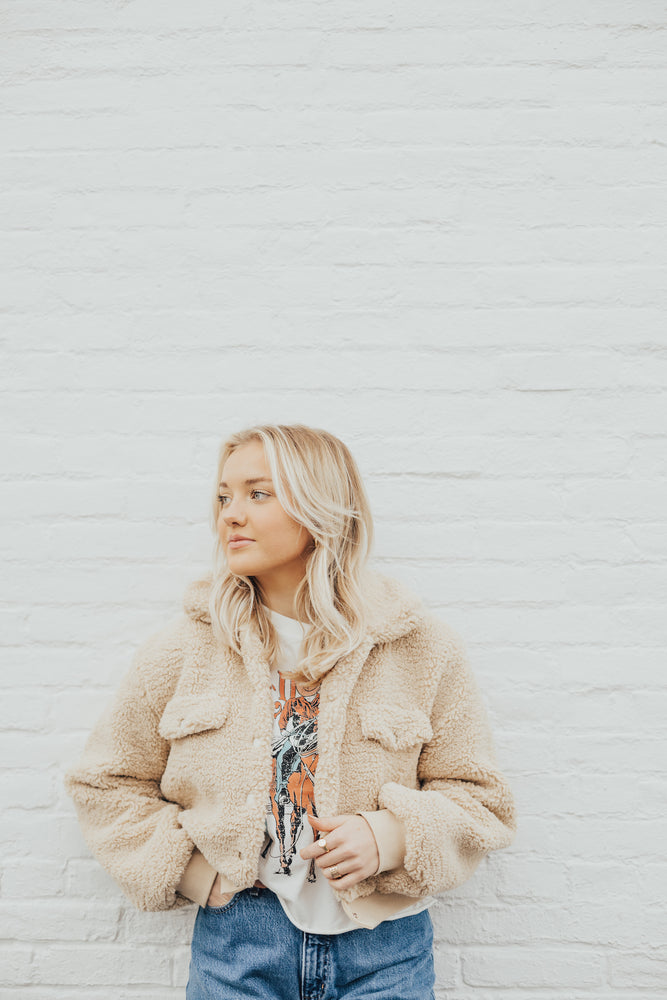 Beige Cropped Sherpa Jacket