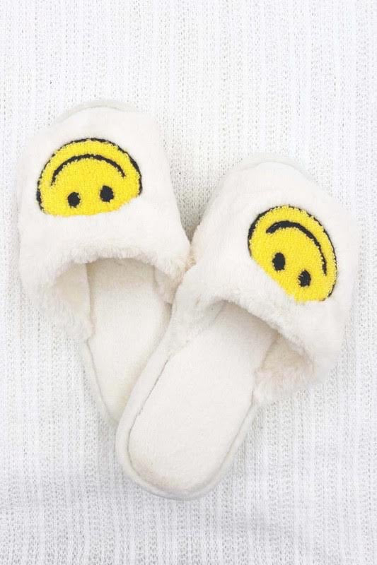 Smiley Faux Fur Slides