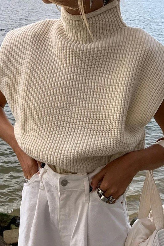 White Shoulder Pad Knit Sweater