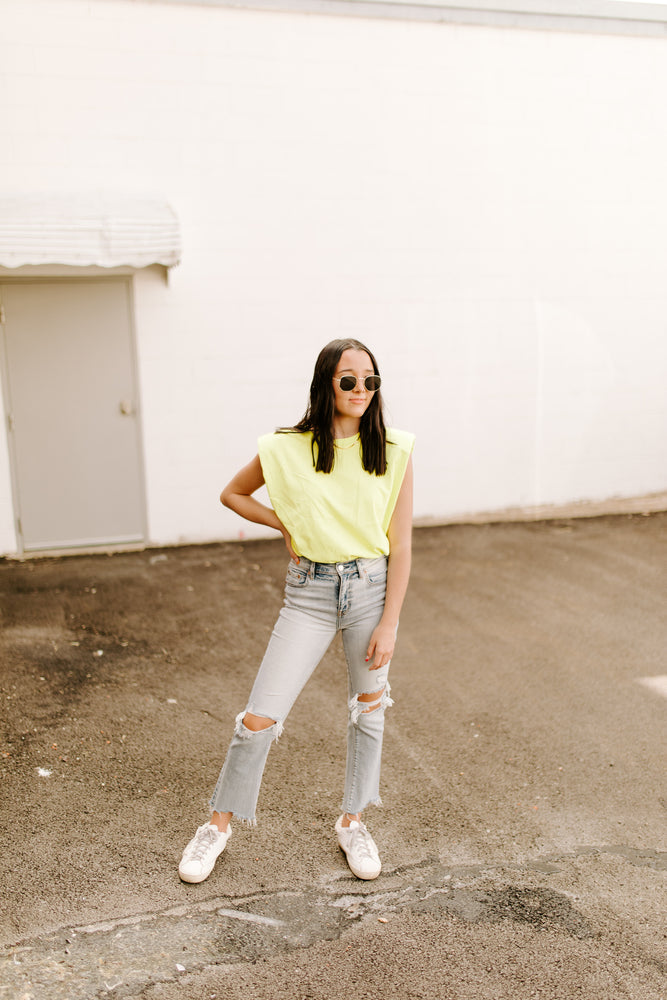 Neon Yellow Shoulder Pad Tank