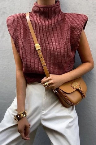 Plum Shoulder Pad Knit Sweater