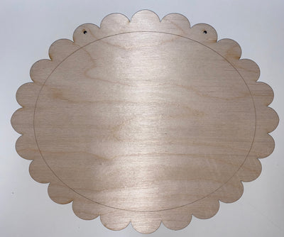 Scalloped etched oval
