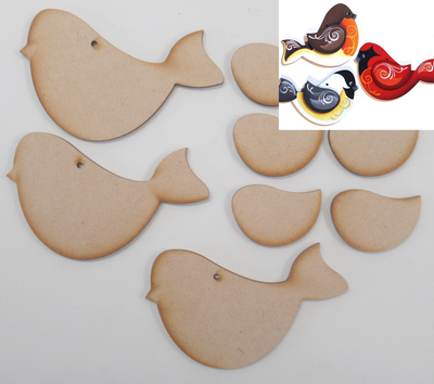 3D Christmas Bird set