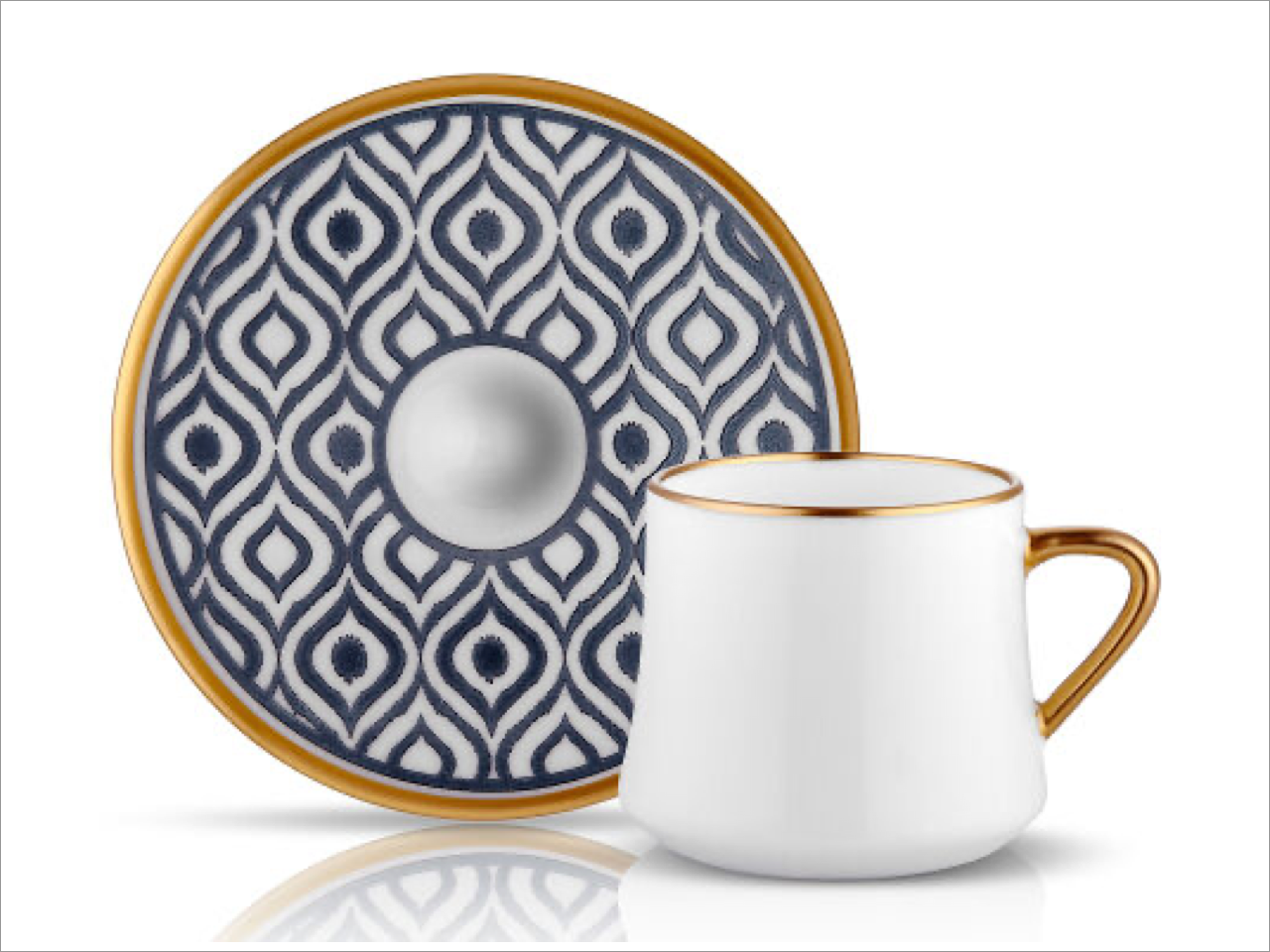 Porcelain Turkish Coffee Cup Set | Blue & Gold (6 Pieces)