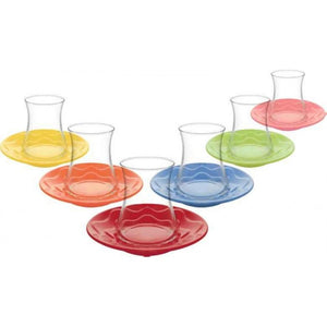 Colorful Turkish Tea Glass Set (Set of 6)