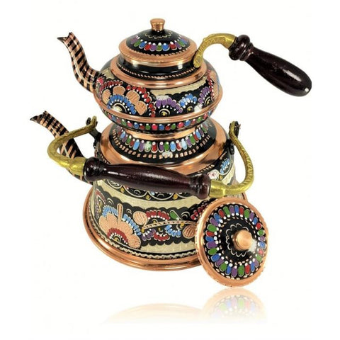 Handmade Embroidered Turkish Tea Pot | Copper Tea Pots Turkish Coffee Bazaar