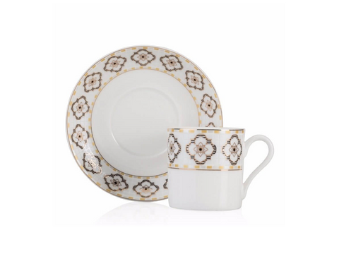 Patterned Turkish Coffee Cup Set | Bone China (2 Pieces) Coffee Cups Turkish Coffee Bazaar