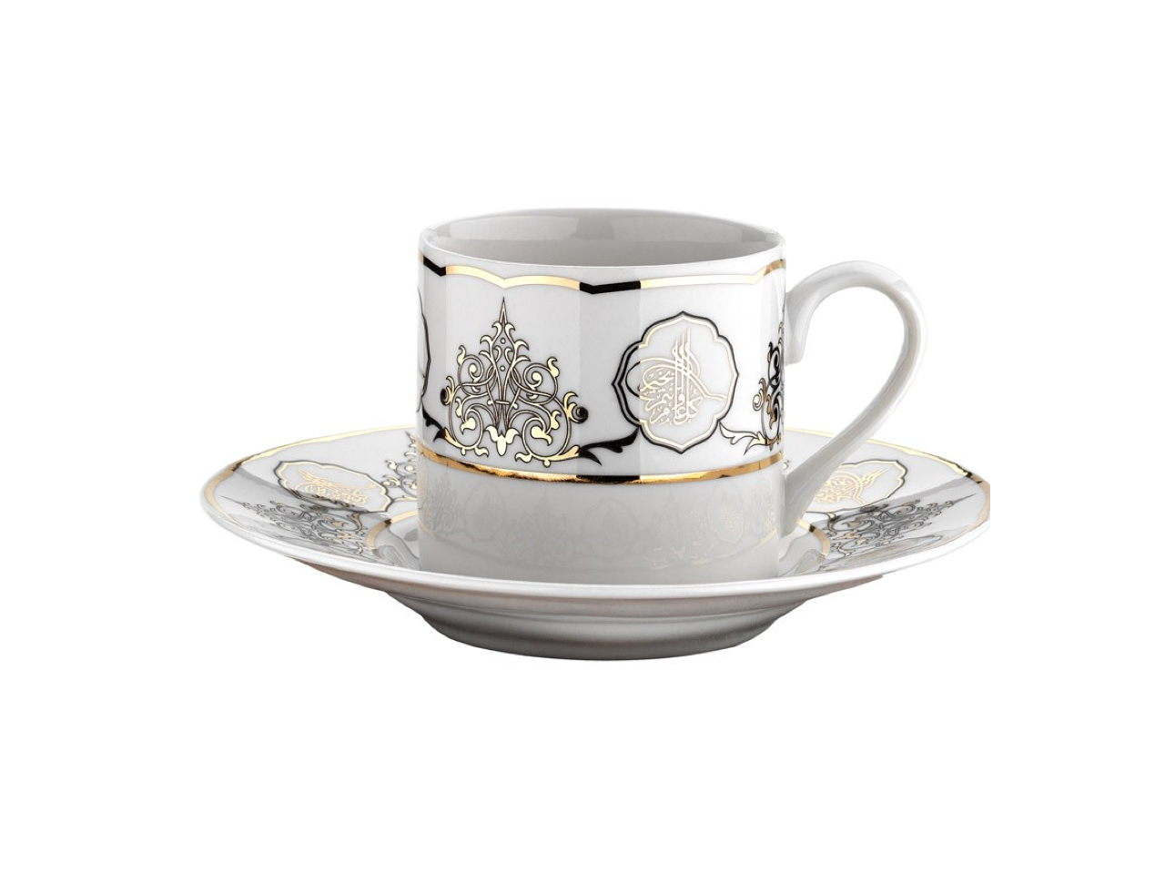 Patterned Turkish Coffee Cup Set | Gold & Silver (6 Pieces) Coffee Cups Turkish Coffee Bazaar