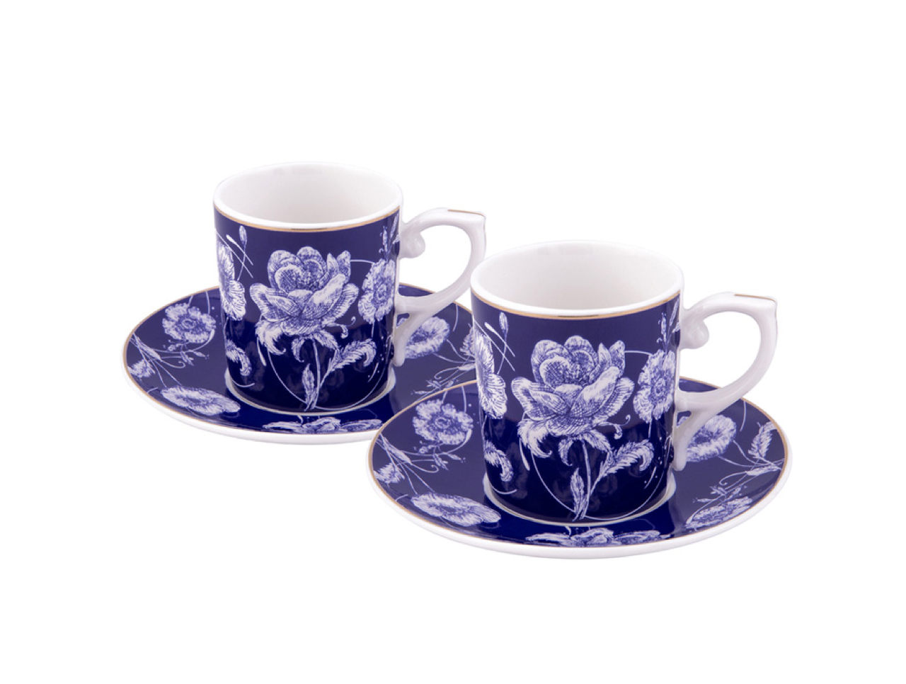 Porcelain Turkish Coffee Cup Set | Empire Blue (6 Pieces) Coffee Cups Turkish Coffee Bazaar