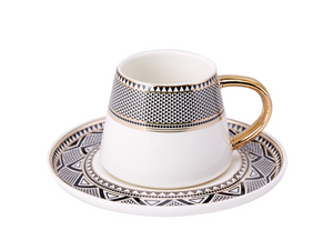 Porcelain Turkish Coffee Cup Set | Gold Trimmed (6 Pieces) Coffee Cups Turkish Coffee Bazaar