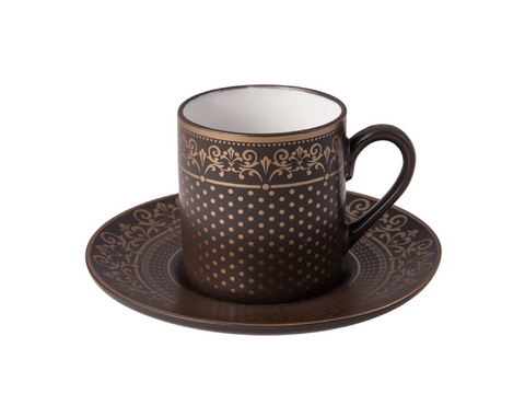 Porcelain Turkish Coffee Cup Set | Hint of Gold (6 Pieces) Coffee Cups Turkish Coffee Bazaar