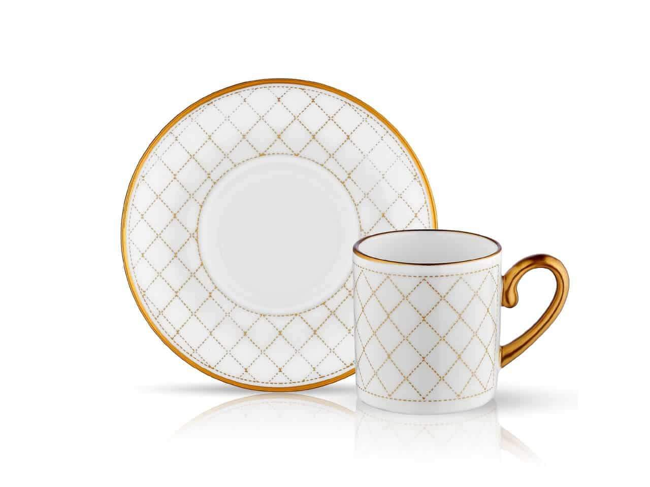 Porcelain Turkish Coffee Cup Set | Quilted Gold (6 Pieces) Coffee Cups Turkish Coffee Bazaar