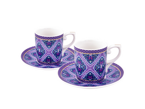 Porcelain Turkish Coffee Cup Set | Violet (6 Pieces) Coffee Cups Turkish Coffee Bazaar